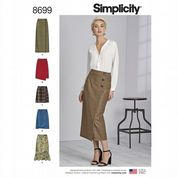 8699 Simplicity Pattern: Misses' Skirt with Hem Style Variations
